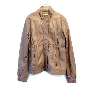 VINCE Leather Bomber Jacket Taupe Size M